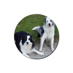 2 Border Collies Rubber Coaster (Round)
