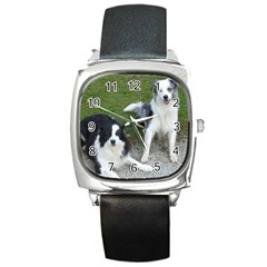 2 Border Collies Square Metal Watch