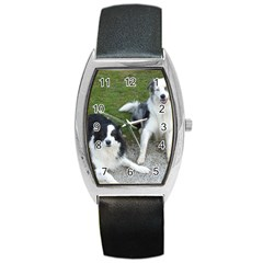 2 Border Collies Barrel Style Metal Watch