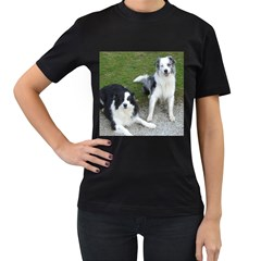 2 Border Collies Women s T-Shirt (Black) (Two Sided)