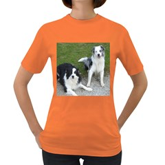 2 Border Collies Women s Dark T-Shirt