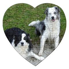 2 Border Collies Jigsaw Puzzle (Heart)