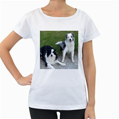 2 Border Collies Women s Loose-Fit T-Shirt (White)