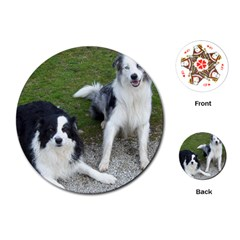 2 Border Collies Playing Cards (Round)
