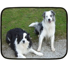 2 Border Collies Double Sided Fleece Blanket (Mini)