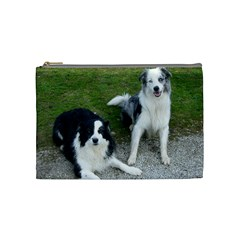 2 Border Collies Cosmetic Bag (Medium)