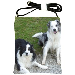 2 Border Collies Shoulder Sling Bags