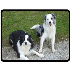 2 Border Collies Fleece Blanket (Large)