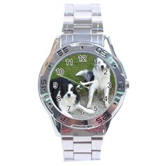 2 Border Collies Stainless Steel Analogue Watch
