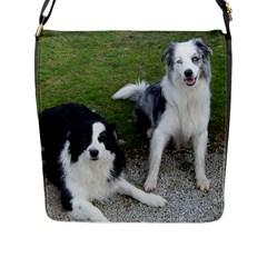2 Border Collies Flap Messenger Bag (L)