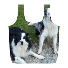 2 Border Collies Full Print Recycle Bags (L)
