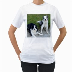 2 Border Collies Women s T-Shirt (White)