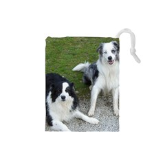 2 Border Collies Drawstring Pouches (Small)