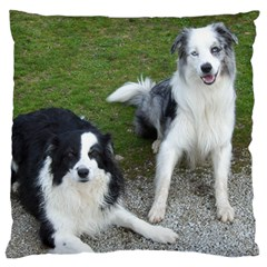 2 Border Collies Large Flano Cushion Case (One Side)