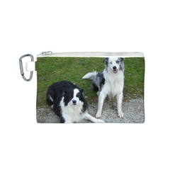 2 Border Collies Canvas Cosmetic Bag (S)