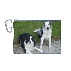 2 Border Collies Canvas Cosmetic Bag (M)