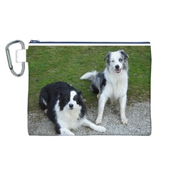 2 Border Collies Canvas Cosmetic Bag (L)