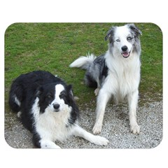 2 Border Collies Double Sided Flano Blanket (Medium)