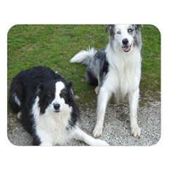 2 Border Collies Double Sided Flano Blanket (Large)