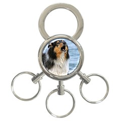 Black Tri Border Collie Wet 3-Ring Key Chains