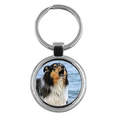 Black Tri Border Collie Wet Key Chains (Round)