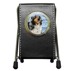 Black Tri Border Collie Wet Pen Holder Desk Clocks