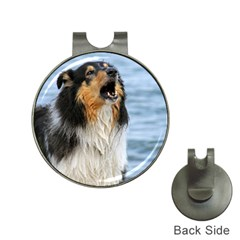 Black Tri Border Collie Wet Hat Clips with Golf Markers
