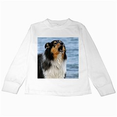 Black Tri Border Collie Wet Kids Long Sleeve T-Shirts