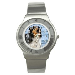 Black Tri Border Collie Wet Stainless Steel Watch