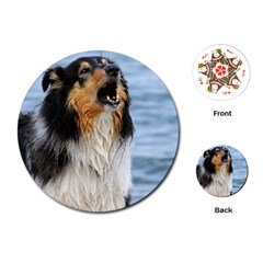 Black Tri Border Collie Wet Playing Cards (Round)