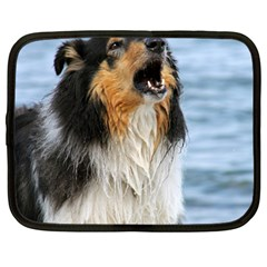 Black Tri Border Collie Wet Netbook Case (Large)