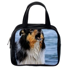 Black Tri Border Collie Wet Classic Handbags (One Side)