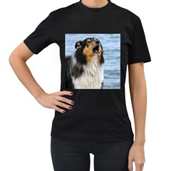 Black Tri Border Collie Wet Women s T-Shirt (Black)