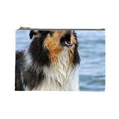 Black Tri Border Collie Wet Cosmetic Bag (Large)