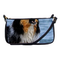 Black Tri Border Collie Wet Shoulder Clutch Bags