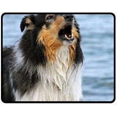 Black Tri Border Collie Wet Fleece Blanket (Medium)