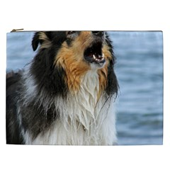 Black Tri Border Collie Wet Cosmetic Bag (XXL)