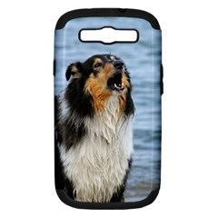 Black Tri Border Collie Wet Samsung Galaxy S III Hardshell Case (PC+Silicone)