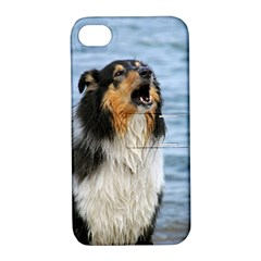 Black Tri Border Collie Wet Apple iPhone 4/4S Hardshell Case with Stand