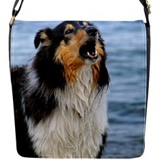 Black Tri Border Collie Wet Flap Messenger Bag (S)