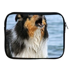 Black Tri Border Collie Wet Apple iPad 2/3/4 Zipper Cases