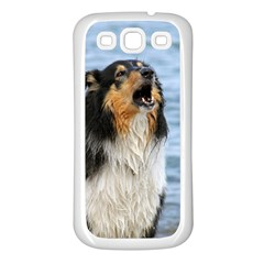Black Tri Border Collie Wet Samsung Galaxy S3 Back Case (White)