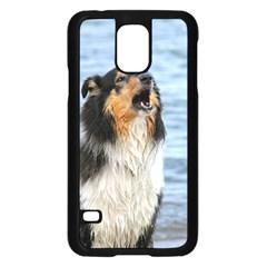 Black Tri Border Collie Wet Samsung Galaxy S5 Case (Black)