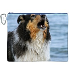 Black Tri Border Collie Wet Canvas Cosmetic Bag (XXXL)