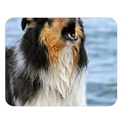 Black Tri Border Collie Wet Double Sided Flano Blanket (Large)