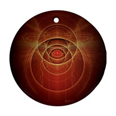 The Rusty Red Fractal Scarab of Fiery Old Man Ra Ornament (Round)