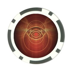 The Rusty Red Fractal Scarab of Fiery Old Man Ra Poker Chip Card Guard