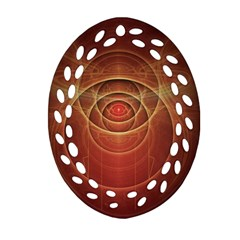The Rusty Red Fractal Scarab of Fiery Old Man Ra Oval Filigree Ornament (Two Sides)