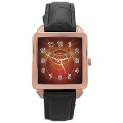 The Rusty Red Fractal Scarab of Fiery Old Man Ra Rose Gold Leather Watch