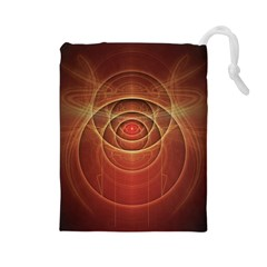The Rusty Red Fractal Scarab of Fiery Old Man Ra Drawstring Pouches (Large)